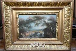 Tableau Huile sur toile 19ème siècle d'un sous-bois avec cadre Empire