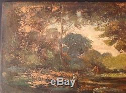 Tableau Impressionnisme Paysannes Clairière Huile goût Adolphe Monticelli (n°2)