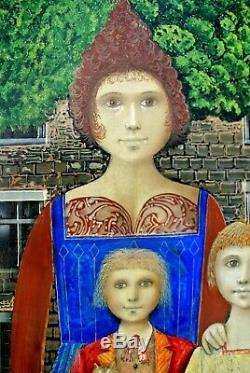 Tableau Jean OLIVIER XX° Portrait famille Chat entre Naïf et Hyperréalisme