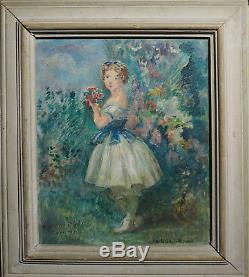 Tableau Jeune fille / jardin fleuri par Maxime BOULARD DE VILLENEUVE (1884-1971)