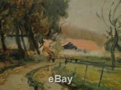 Tableau L. BORDES 1898/1969-Paysage de campagne- Huile sur papier Ecole de Rouen