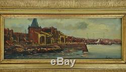 Tableau Marine Vue d'un Port Huile sur Panneau de Bois Signé
