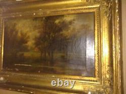 Tableau Paysage 18ème Peinture Huile sur Panneau 62x44cm