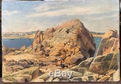 Tableau Paysage Morlaix Diben Primel-Trégastel Bretagne 1900 Prosper Henri Wirth