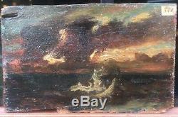 Tableau Paysage Romantique Mer Des Mystères Par Paul Huet (1803-1869) 1868