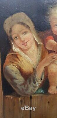 Tableau Peinture 18è XVIII / 19ème XIX laitière et son enfant huile sur bois