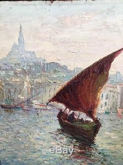 Tableau Peinture 19eme Marine Marseille Notre Dame Signature Italo Giordani