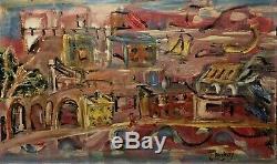 Tableau Peinture 20è XXè Signé Carnoty Paysage animé Expressionniste Rare ancien