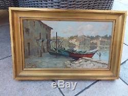 Tableau Peinture A Huile Marine Provençale Martigues Signée. P. Fort