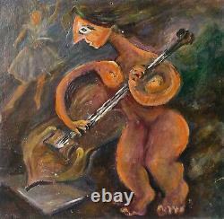 Tableau Peinture Ancienne Huile, Personnage, Femme, Violon, Musique, Cubiste