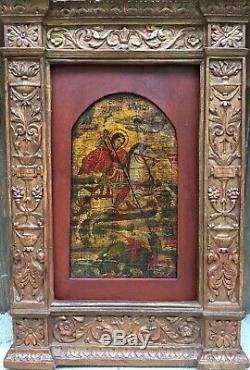 Tableau Peinture Cadre 18è XVIIIè 19è XIXè St Georges Dragon Icône Rare ancien