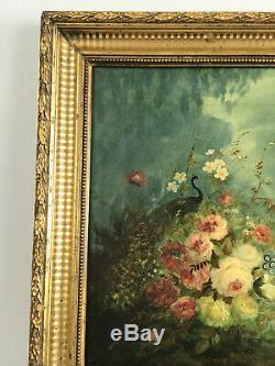 Tableau / Peinture / Huile Sur Panneau Bois (bouquet Champêtre) Bien Encadré