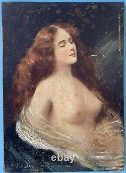 Tableau Peinture à l'huile sur Bois Portrait Nu Féminin Drapés Signé XIXe