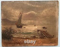 Tableau Peinture de Emile Louis Julien Nerlot (1865-1943) Paysage Marin Bateaux