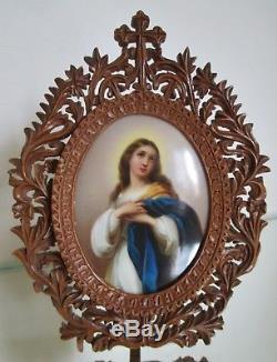 Tableau Peinture miniature sur Porcelaine Vierge XIXe cadre bois sculpté