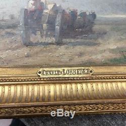 Tableau/ Scène Champètre Signé Charles Lobbedez (1825-1882) Signé Et Daté