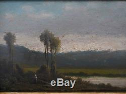 Tableau Scène école de Barbizon femme longeant une rivière arborée XIX° siècle