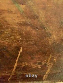Tableau Signé illisible. Huile sur bois. 44x64,5 Voir photos