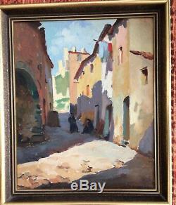 Tableau Tony CARDELLA représentation d'une rue d'un village corse