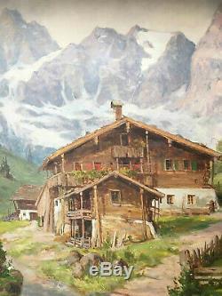 Tableau Willy REINHARDT (1888-1970) Paysage de montagne enneigée