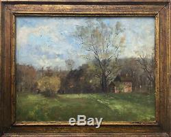 Tableau XIX° Paysage arboré à la ferme signé mention Daubigny  + cadre