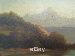 Tableau XIX eme Montagne Huile sur bois signé Cl. Defaye Antique Oil Painting
