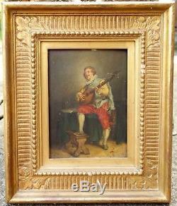 Tableau XIXe Homme a la Mandoline Peinture sur Bois Mention FICHEL MEISSONIER
