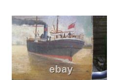 Tableau XVIII marine beaux bateaux encrés sur les berges de nos fleuves français