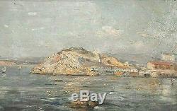 Tableau ancie Marine Toulon Le Mourillon signé Jules-Justin Claverie (1859-1932)