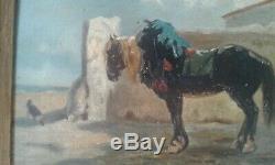 Tableau ancien 19 ème. Cheval dans cour de ferme. De J. VEYRASSAT