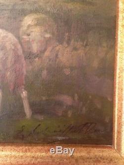 Tableau ancien BARBIZON XIXe Les Moutons Huile sur panneau signée
