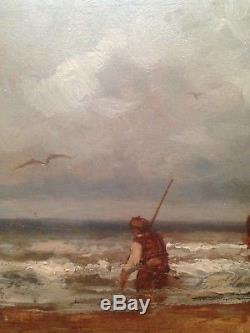 Tableau ancien Ernest PAUL (XIX-XXe) Départ pour la pêche Huile signée