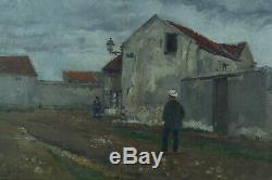 Tableau ancien Eugène Chaperon paysage Rosny animé Waterloo Histoire 1881 x 2