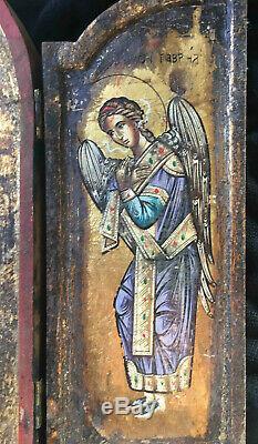 Tableau ancien Icone Retable Triptique Madone Ange Gabriel Grecque