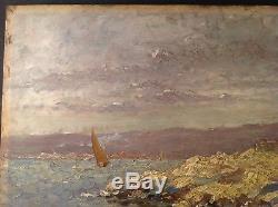 Tableau ancien Impressionnisme Marine Bateau Littoral Huile sur bois signé