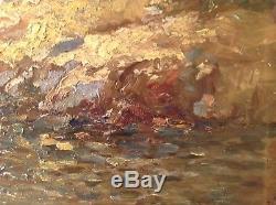 Tableau ancien Impressionniste Marine Bateau Littoral Huile sur bois signé
