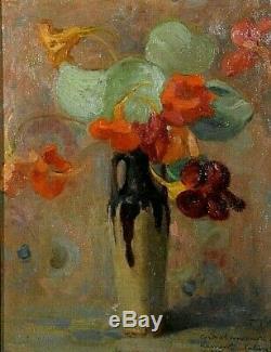 Tableau ancien Nature Morte bouquet de fleurs signé A. Vaury Caille XXème