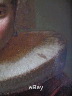 Tableau ancien Portrait Huile Bois Femme Dame Renaissance XIXe Shabby Chic