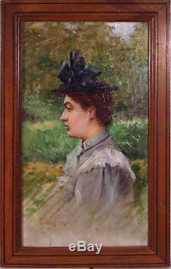 Tableau ancien, Portrait de femme. École française XIXème