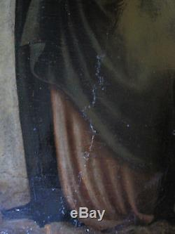 Tableau ancien Religieux Vierge à l'enfant Huile Bois Panneau de Retable XVIIe