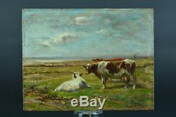 Tableau ancien Vaches en Bord de Mer Arcachon Cap-Ferret 19 ème Gaston Guignard