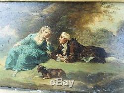 Tableau ancien XVIIIème XIXème scène galante chien signé Saurfelt