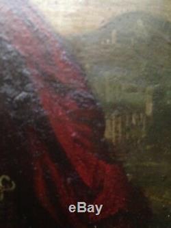 Tableau ancien XVIIe Huile sur cuivre Jésus enfant Instruments de la Passion 17e