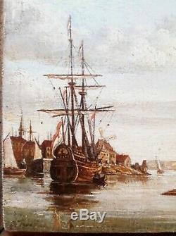 Tableau ancien école hollandaise SCHILDERIJ NEDERLAND marine boat haven signé