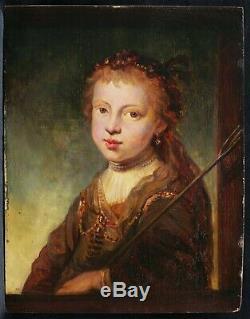 Tableau ancien école hollandaise portrait petite fille femme Pays-Bas REMBRANDT