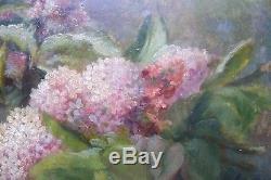 Tableau ancien fleurs lilas bouquet