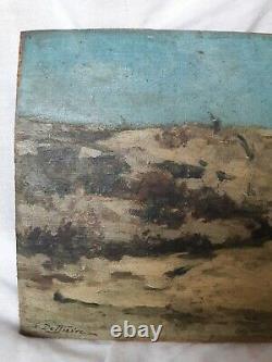 Tableau ancien huile impressionniste XIX signé Marine Paysage Plage à restaurer