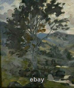 Tableau ancien huile paysage montagne signé Jean Didier-Tourné (1882-1967)