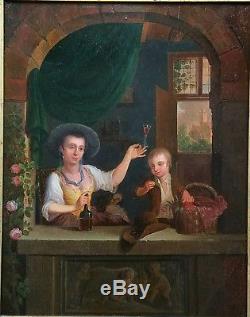 Tableau ancien huile sur bois école Hollandaise XVIII e siècle