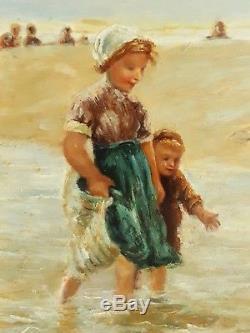Tableau ancien huile sur bois enfants plage cadre MILL'D BOARDS London XIXème